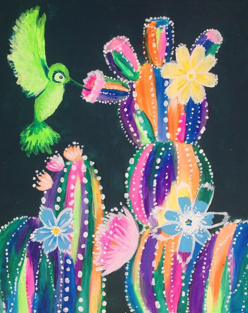 Come create colorful cacti at pinots palette cactus