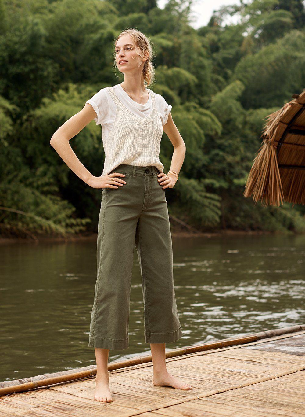 7f650c38bd madewell emmett wide-leg crop pants worn with stockton sweater tank, rivet  & thread