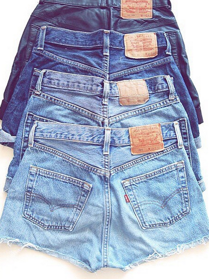 ed1ab9f5 The full denim short spectrum. Which color is your favorite in this  collection of cut-off Levi's?