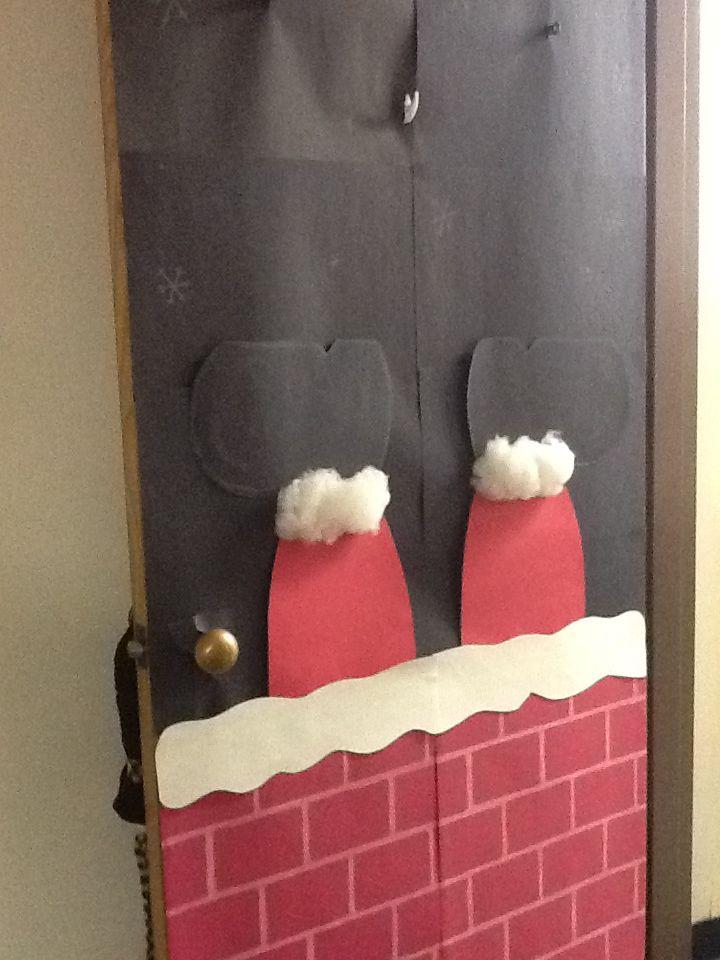 Santa Stuck In The Chimney Door Door Decor Classroom