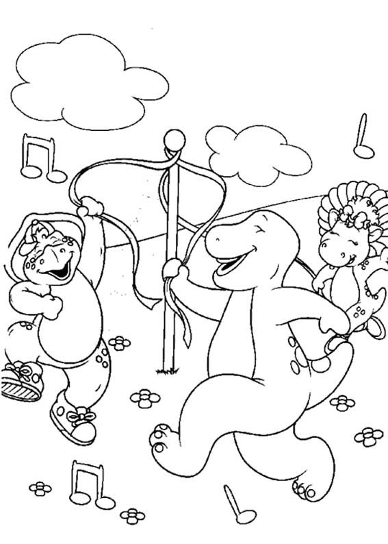 Barney Having Fun With Friends Coloring Page   Coloring ...