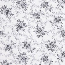 Off-White/Navy Floral Voile