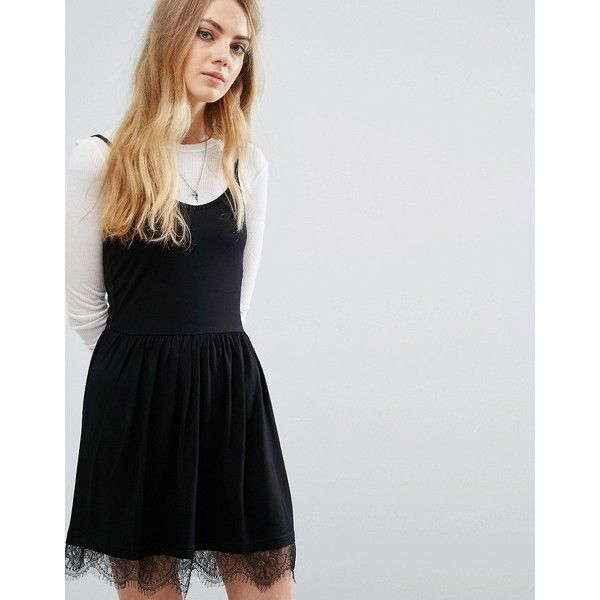 Brave Soul Lace Trim Skater Dress featuring polyvore women's fashion clothing dresses black lacy dress strappy skater dress skater dress strap dress strappy cami
