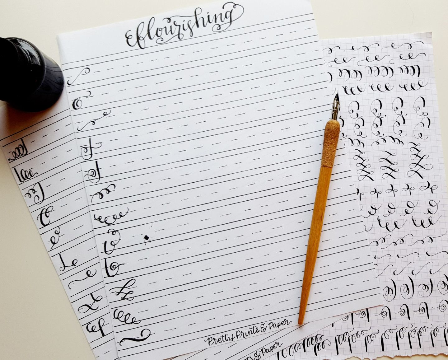 Download your own copy of my calligraphy flourish practice sheet