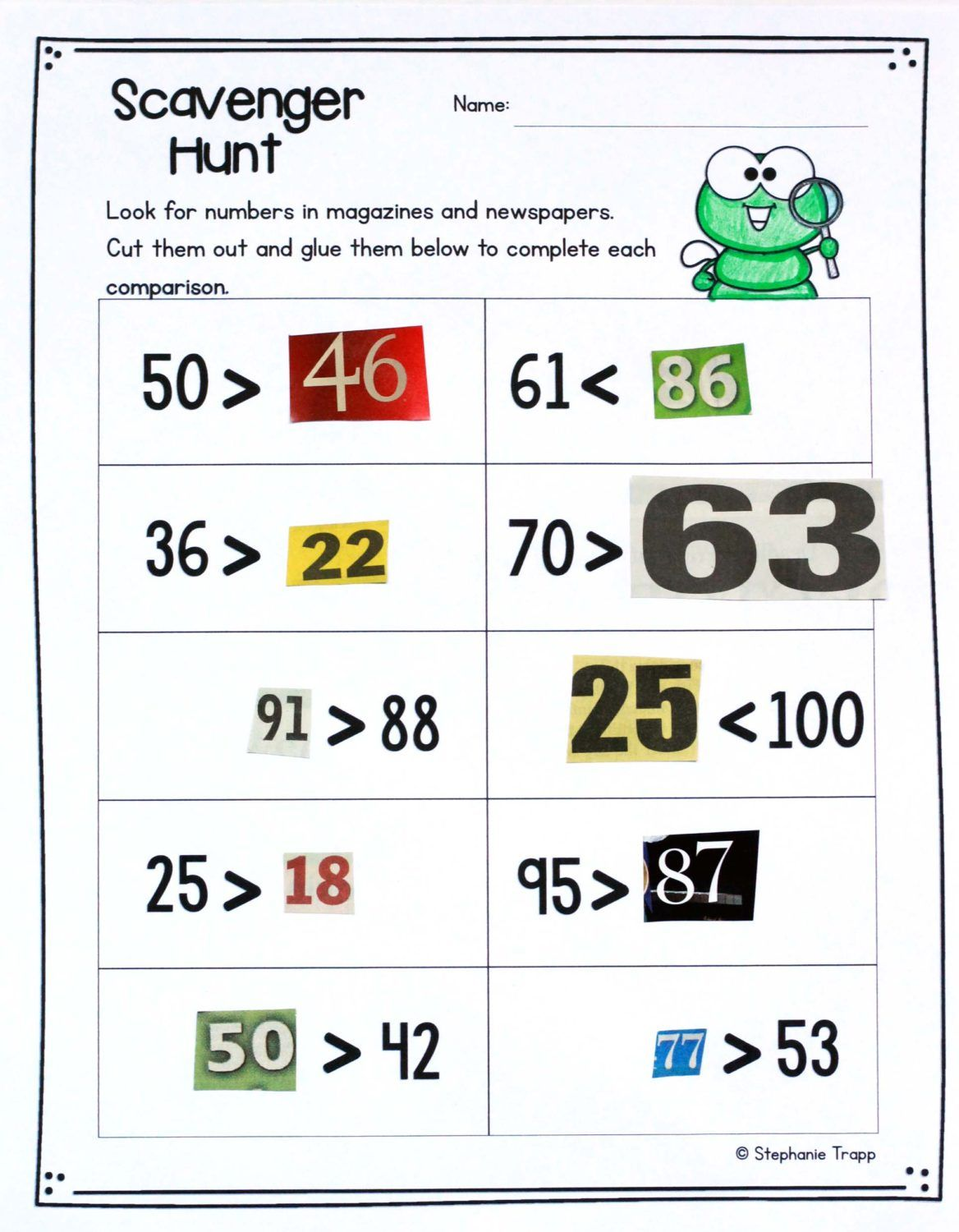 A number scavenger hunt to make inequalities is an easy greater than less  than activity kids will love! #math #mathgames #firstgrade #kidsactivities