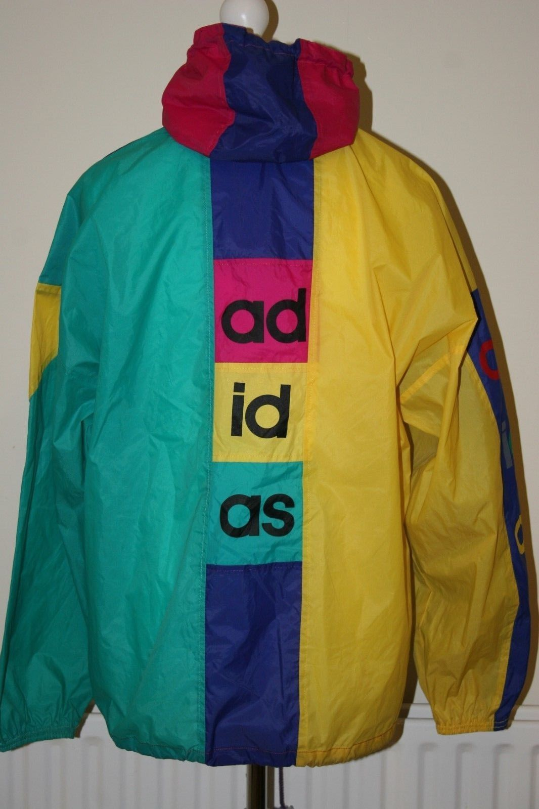 Vintage 90' ADIDAS Original Windbreaker Halfzipper Pullover Colour Block Multi Colour Oversize Jacket Size M