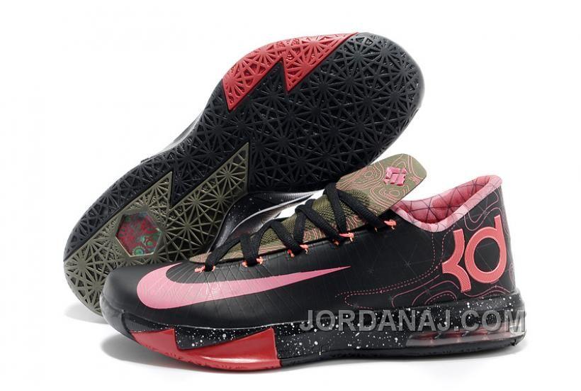 "f3ba6f37cb63 Nike Kevin Durant KD 6 VI ""Meteorology"" Black Atomic Red-Medium Olive-Noble  Red For Sale"