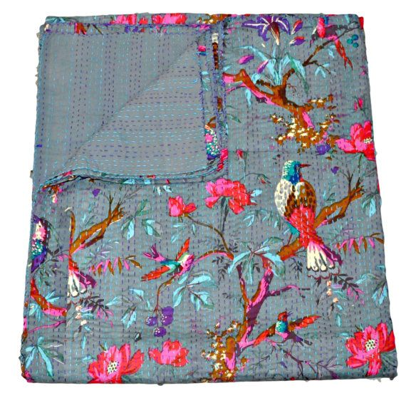 On Sale Kantha Quilt In Gray Blanket In Gray Color Bird