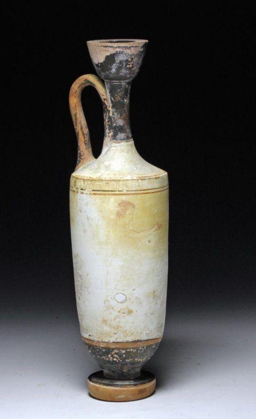 Greek Attic White Ground Lekythos Jun 13 2013 Artemis Gallery In Co Greek Pottery Greek Greek Vases