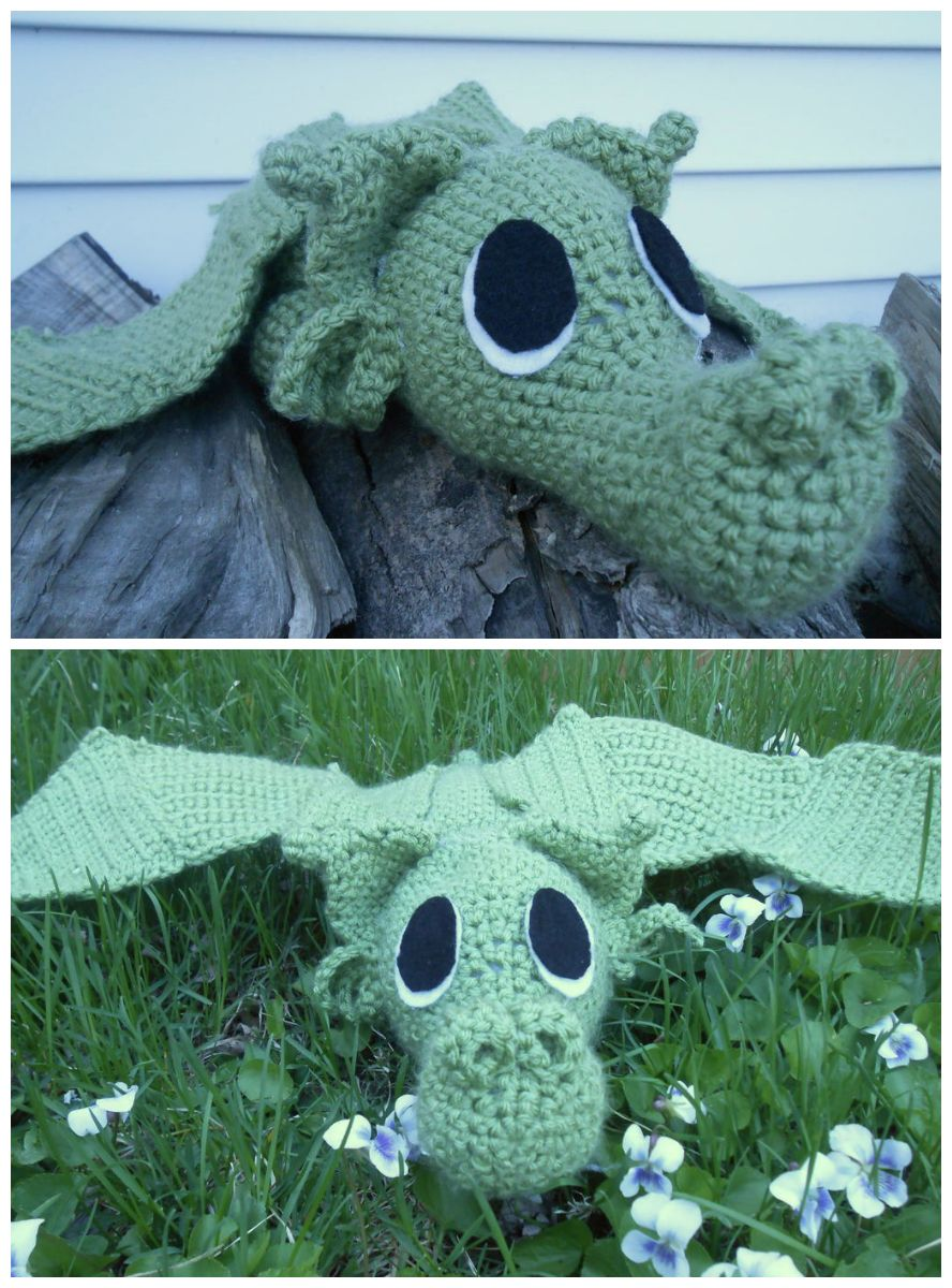 Crocheted Dragon | Bordes de ganchillo, Los monos y Cocodrilos