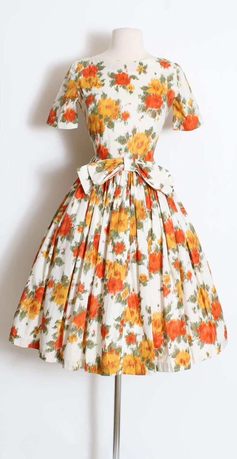 Vintage 1950s 50s Dress Orange Yellow Autumn Rose Print Cotton Dress S M Small Medium S M 50s Dresses Vintage Dresses 50s Printed Cotton Dress [ 1539 x 794 Pixel ]