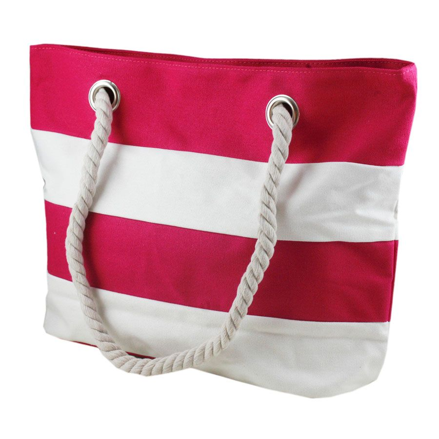 Rock Candy Hot Pink and White Striped Beach Bag mrBv9