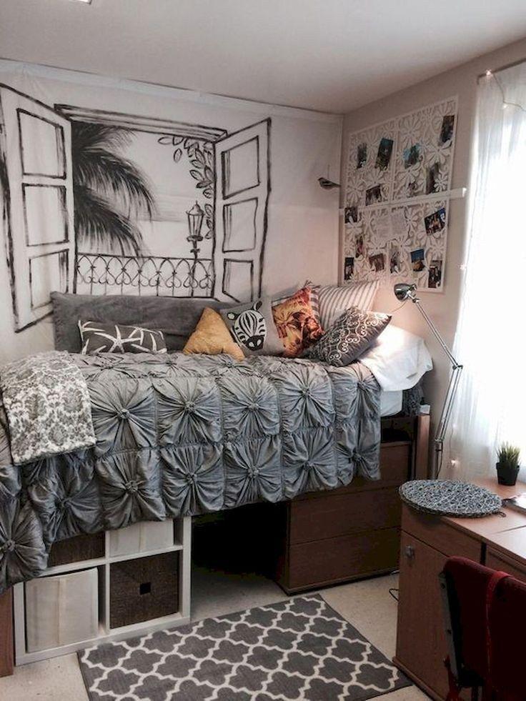 ✔50 beautiful college apartment bedroom decorating ideas 39 #cutedormrooms
