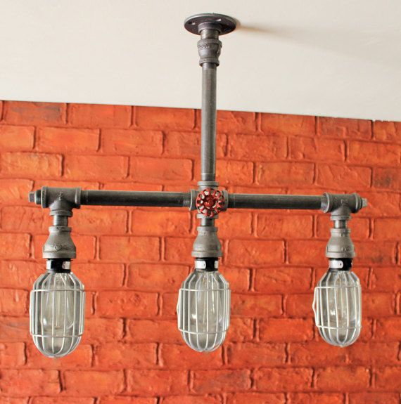 3 Hanging Pendant Light Silver Cages Steampunk Bathroom Vanity