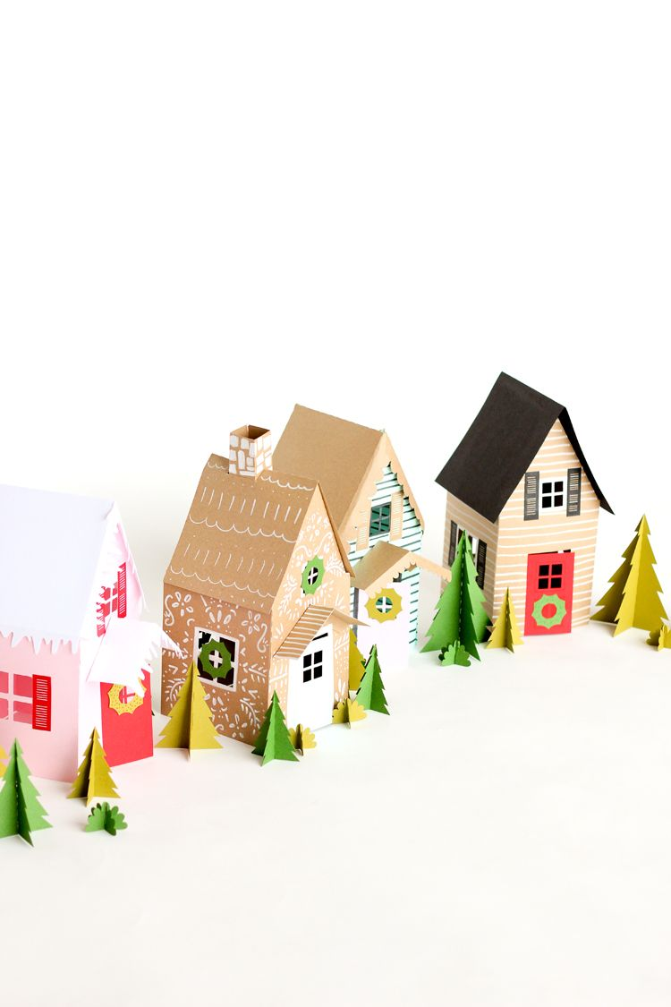 Paper Holiday Houses - free templates! // www.deliacreates.com ...