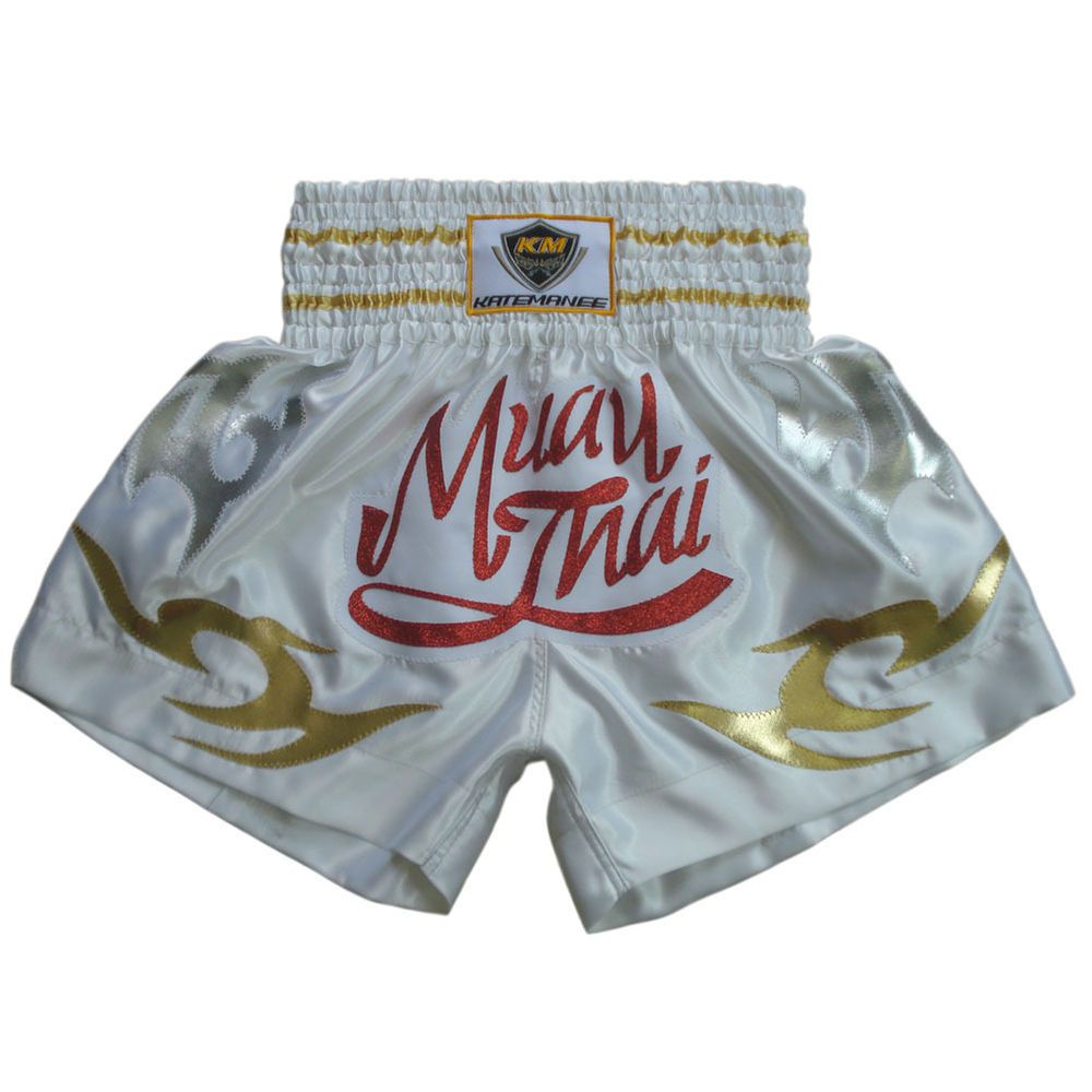 Muay Thai Fight Kick Boxing Shorts Satin Sport White Colour Gifts#KMBS-001