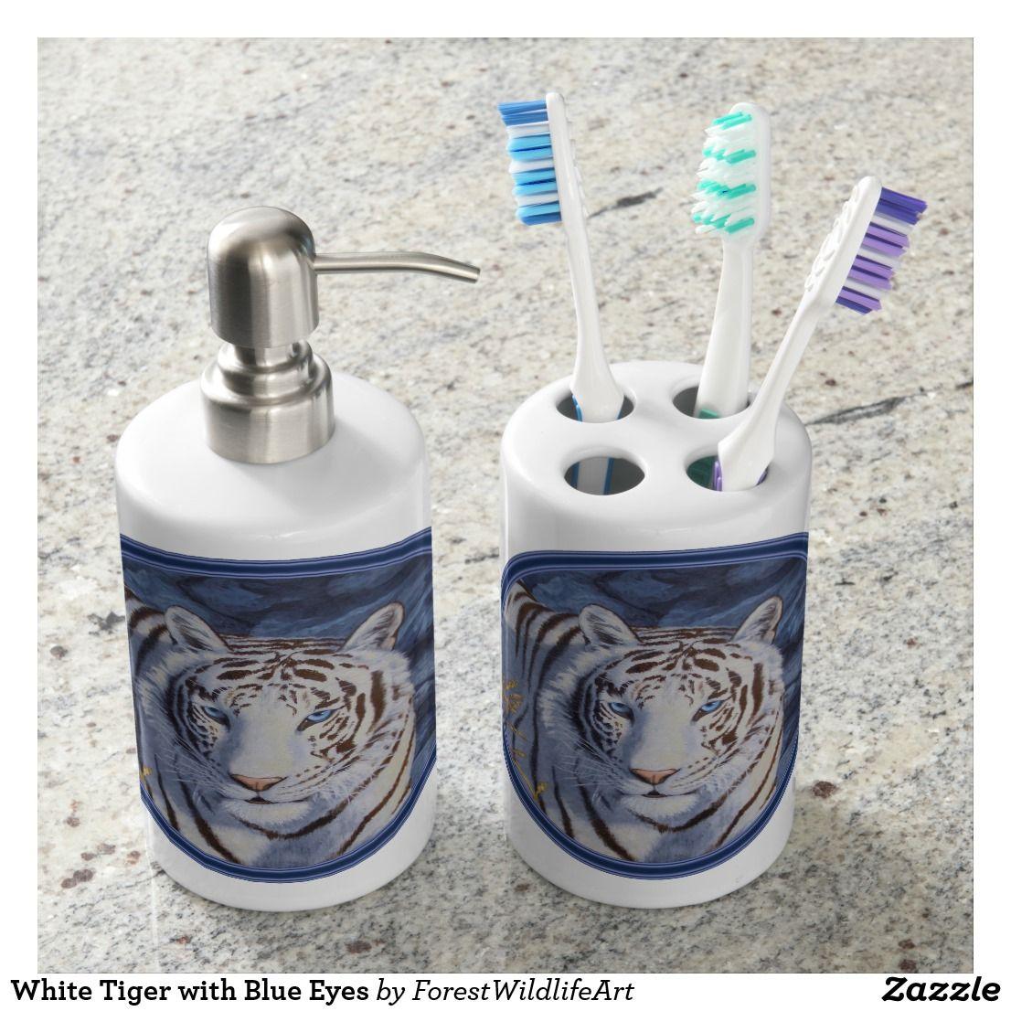 White Tiger with Blue Eyes Soap Dispenser & Toothbrush Holder | Bath ...