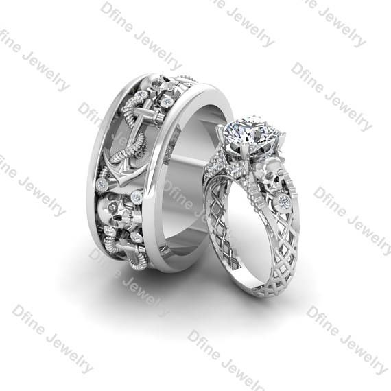 His And Her Promise Rings Matching Skull Wedding Band