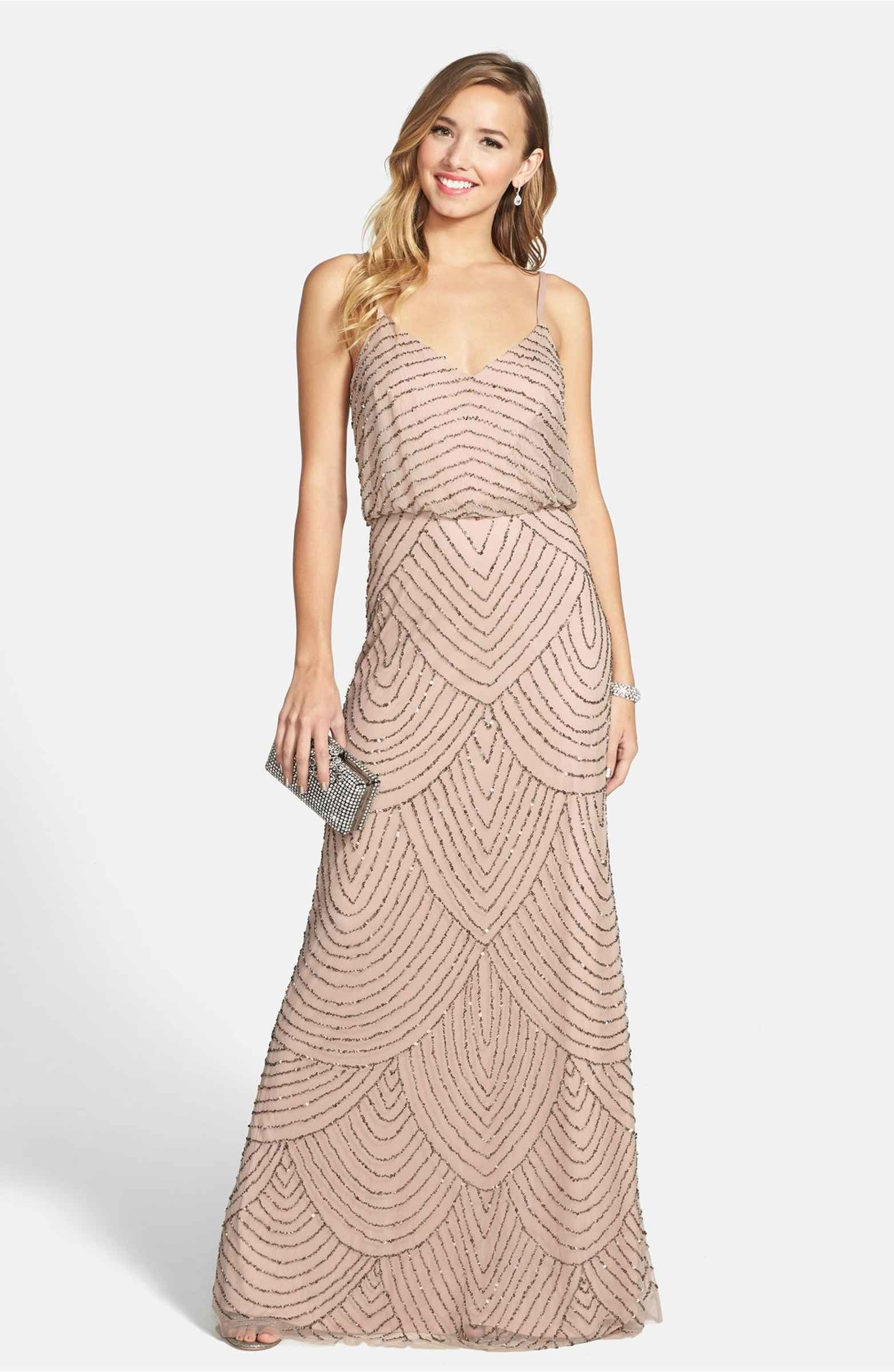 Embellished blouson gown adrianna papell petite and gowns