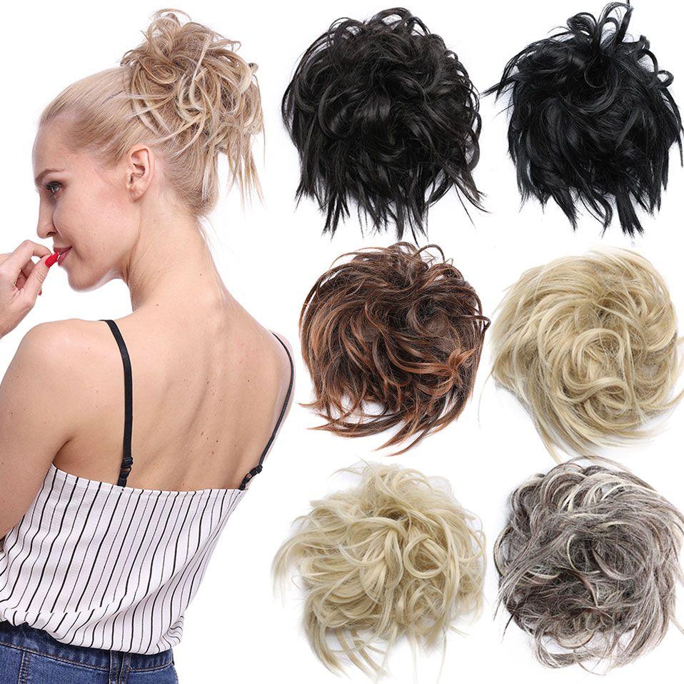 Messy Bun Hair Piece Elastic Band Updo Scrunchies Thick Hair Extensions Bun Hair Piece Bun Hairstyles Short Hair Bun