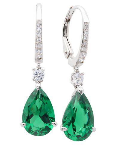 Crislu Pear Shaped Faux Emerald Drop Earrings Fashion Deals