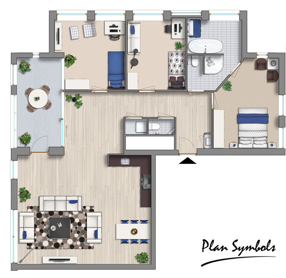2d Floor Plan Made With The Modern Furniture Add-on