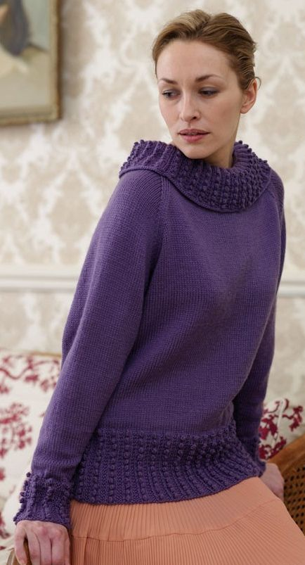 Free Knitting Pattern for Bobble Rib Sweater by Debbie Bliss - #ad ...