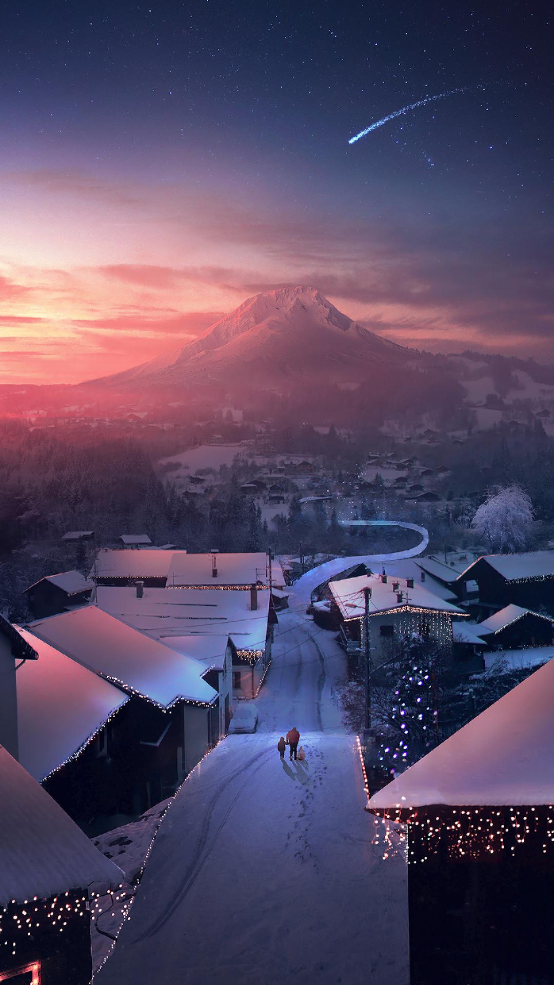 Christmas Night Mobile Wallpaper Lights Snow Anime Wallpaper Iphone Anime Wallpaper Android Wallpaper