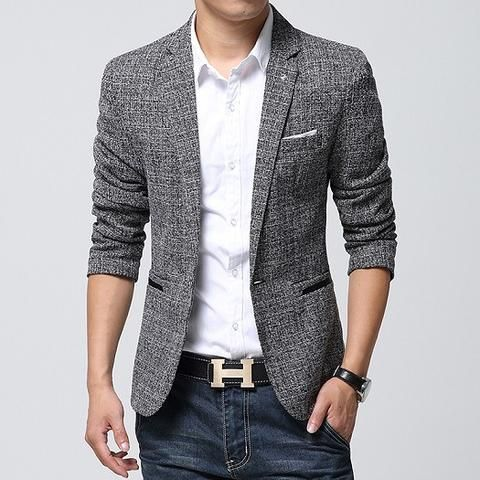 2017 New Fashion Brand Men Blazer Mens Casual High Quality Jackets Solid  Color Single Button Slim Fit Linen Jacket Suit Men