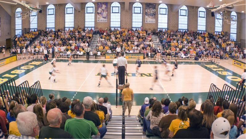 Bentson Bunker Fieldhouse Home Of The Bison Volleyball Team Volleyball Volleyball Team Basketball Court