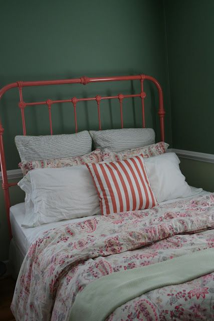coral bed frame and Bedding love for a girls room