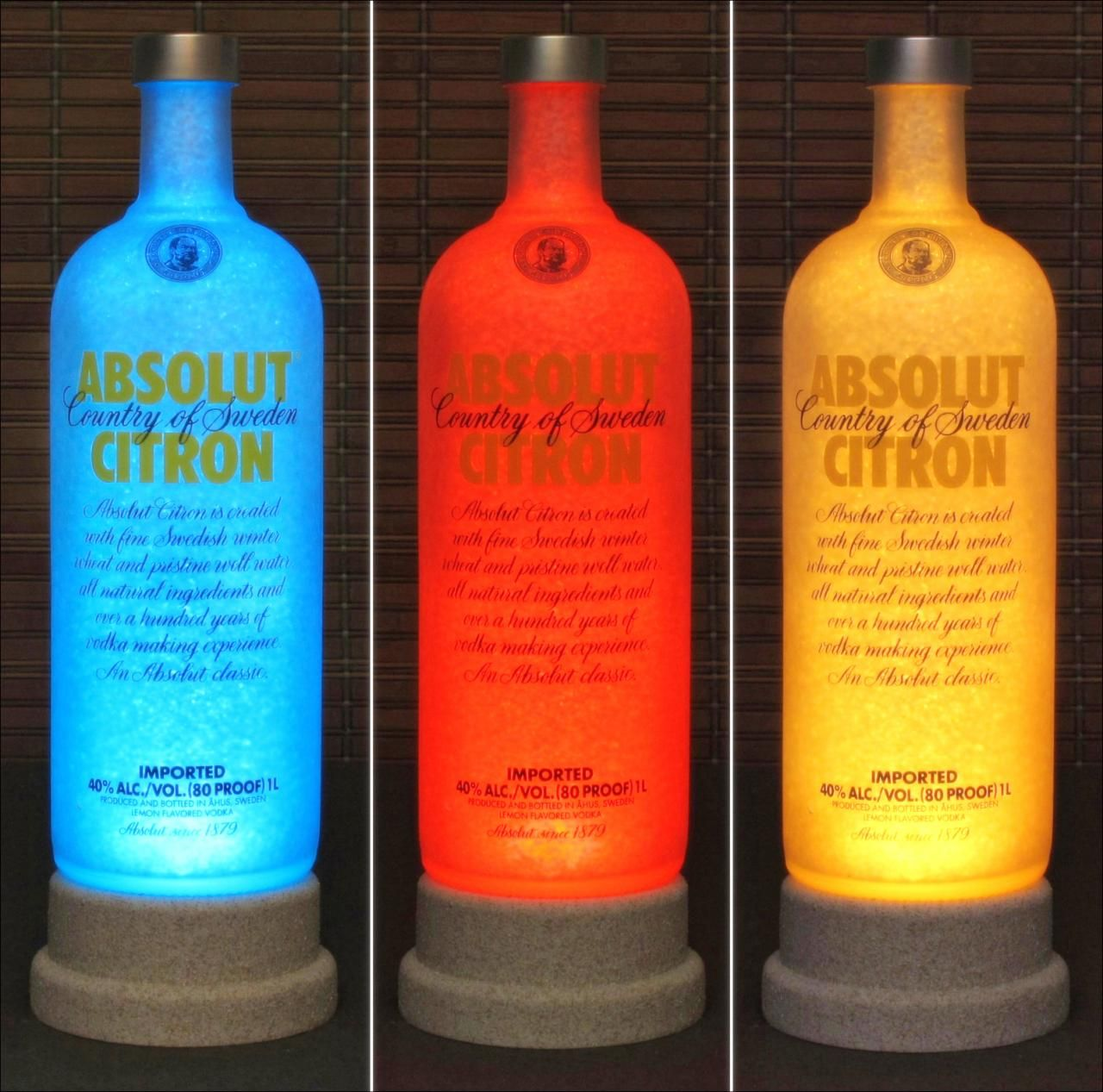 Absolut Citron Vodka Color Changing Led Remote Controlled Bar Light Intense Sparkle Bodacious Bottles Liquor Bottle Lamp Absolut Citron Bottle
