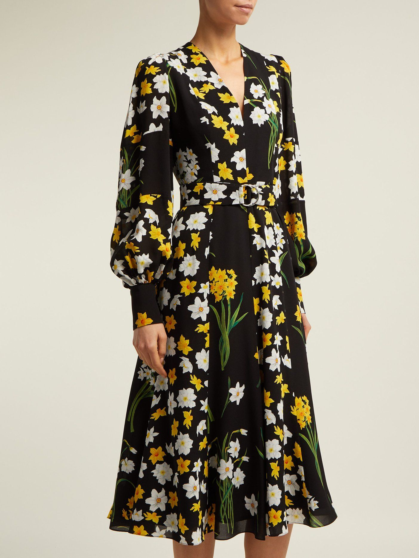 97f7c4483 Daffodil-print silk midi dress | Andrew Gn | MATCHESFASHION.COM US ...