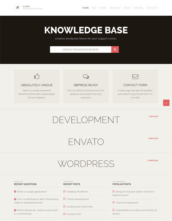 This knowledge base WordPress theme features a Bootstrap framework ...