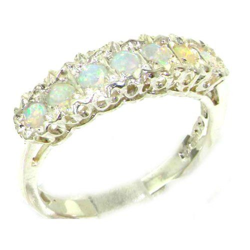 Solid English Sterling Silver Ladies Natural Fiery Opal Eternity Band Ring 7zUsy