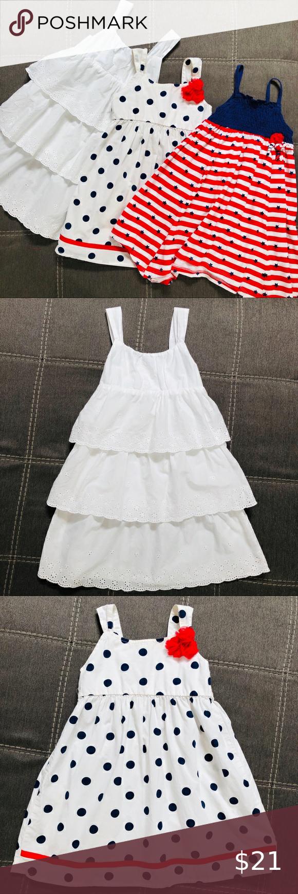 3 Pack White Red Blue Summer Dresses 4t Kids White Dress Americana Dress Summer Dresses [ 1740 x 580 Pixel ]