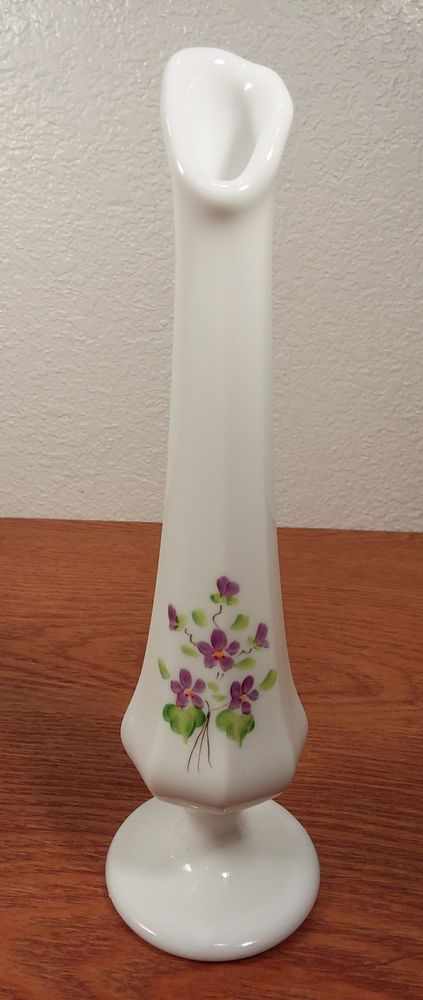 Vintage Fenton 8 38 Violets In The Snow Purple Flowers Bud Vase