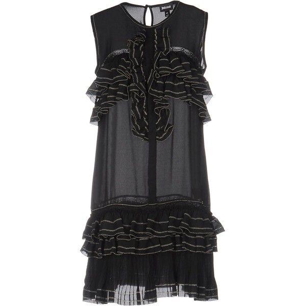 Just Cavalli Short Dress ($351) ❤ liked on Polyvore featuring dresses, black, mini dress, shirred dress, no sleeve dress, just cavalli and sleeveless swing dress