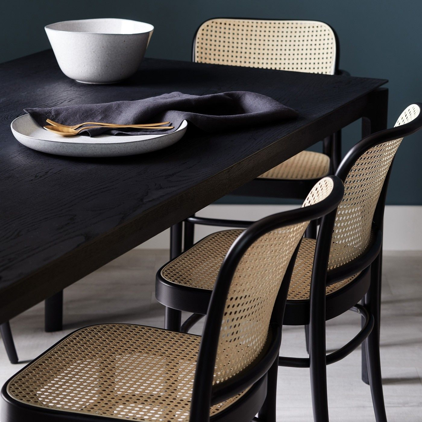 811 Black Side Chair In 2021 Rattan Dining Chairs Cane Dining Chairs Black Dining Room Chairs