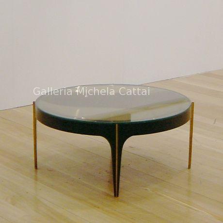 Tavolino Fontana Arte, 1950 ca. Cristallo colorato oro e struttura ...