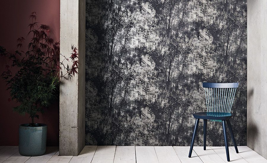 Utsuro Wallcovering Anthracite Mizumi Wallcoverings Embossed Vinyl Wallcovering Romo Group Romo Group Trad Black Edition Oriental Design Wall Coverings