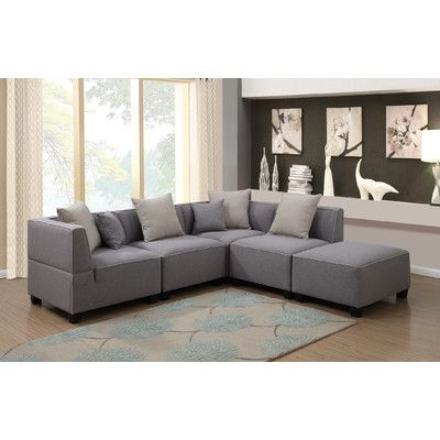 AC Pacific Holly Modern 5 Piece Tuxedo L Shaped Modular Sectional