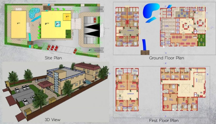 Site Plan And Construction Plan Detail Of 3d Resort Building Pdf File Site Plan Construction Plan Restaurant Architecture