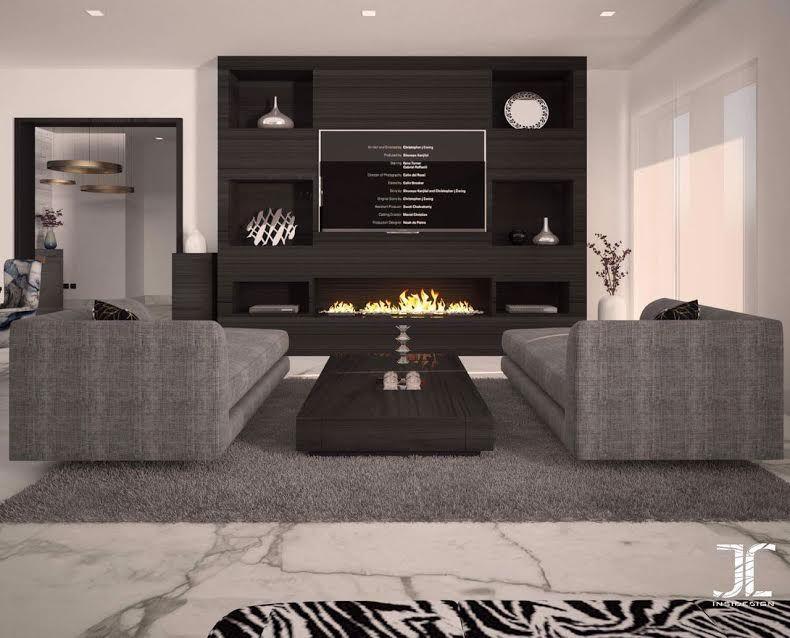 Salon moderne \u2013 design \u2013 canapé gris \u2013 INSIDESIGN BY JABEL déco
