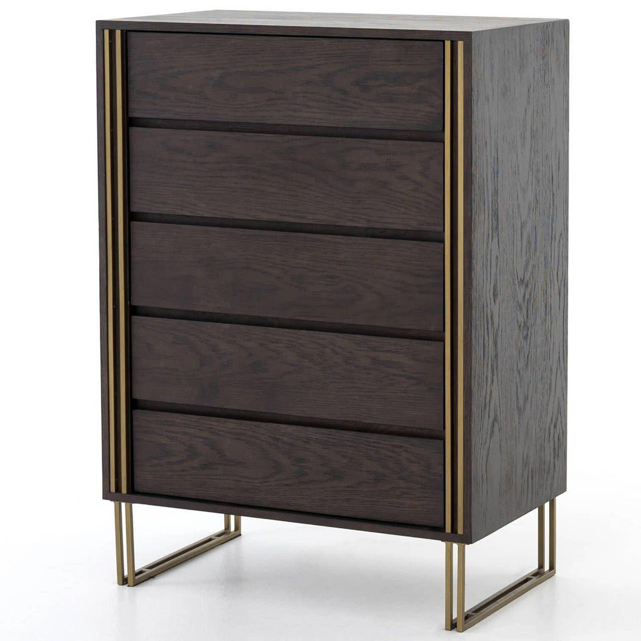 Samara Brass Black Oak Wood 5 Drawers Tall Dresser Tall Dresser Oak Wood Brass Furniture [ 1280 x 1280 Pixel ]