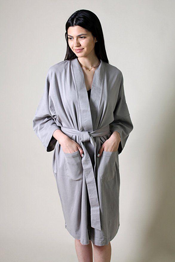 Viverano 100% Organic Cotton Women s Spa Bath Robe Kimono ... 7f1badaf0