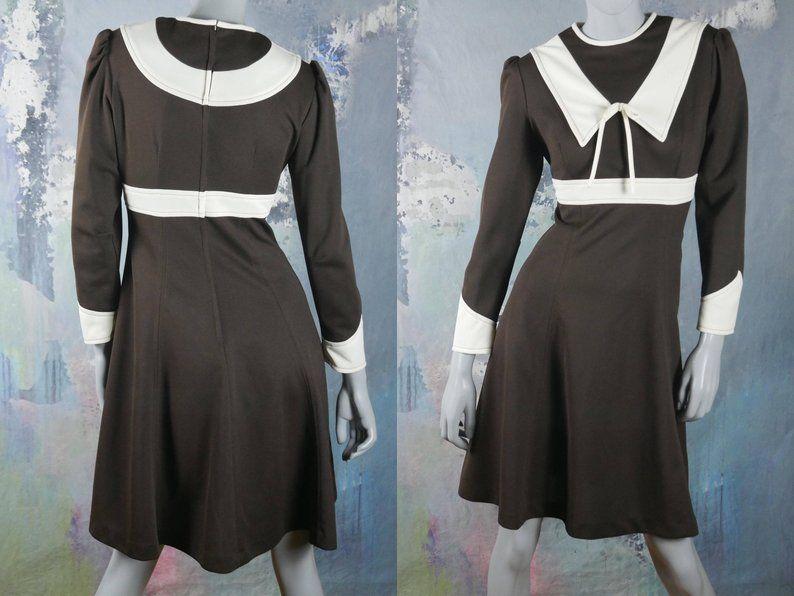 1960s Dress, Mad Men Dress, Brown Ivory AbovetheKnee