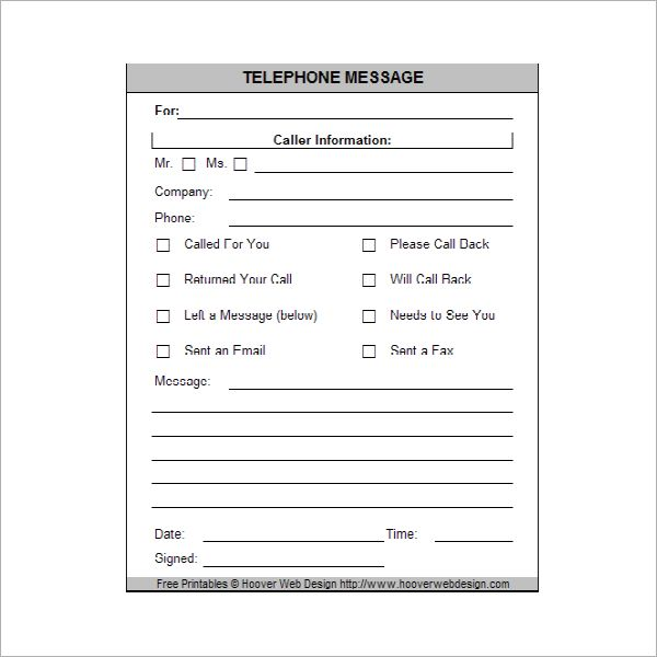 PrintablePhoneMessage  Memo Pads    Phone Messages