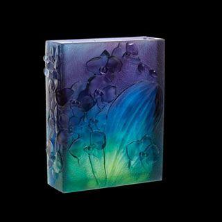 Daum Crystal Orchid Dark Blue Vase 05103 at Biggs Ltd. Gallery 1-800-362-0677 Price $15,375.