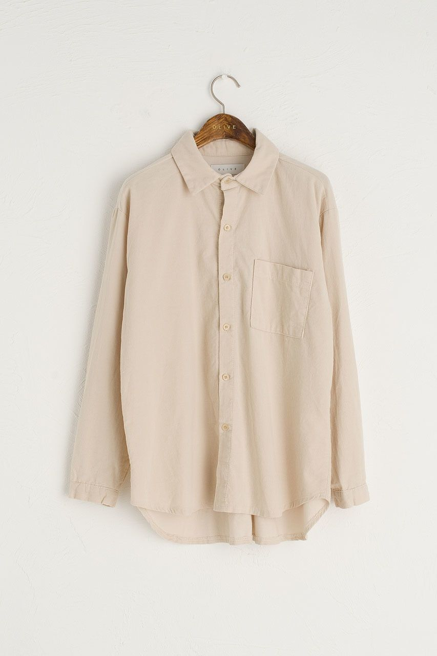 blouse in organic corduroy with buttons